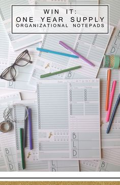 Win It: A one year supply of my favorite organizational notepads.