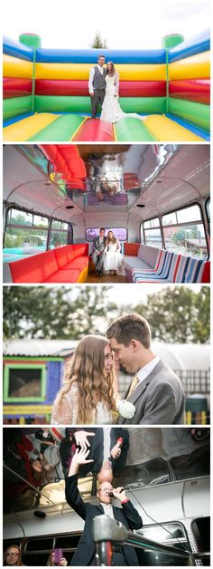 bright and cheerful photos of a wedding at The Missing Sock Cambridge, in the karaoke bus, bouncy castle and by the caravans. By Rebecca Prigmore Photography