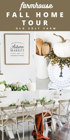 Farmhouse Fall Home Tour | Old Salt Farm #falldecor #farmhousefalldecor #farmhousefallstyle #neutralfalldecor #neutralfarmhouse #fallstyle #neutralfallstyle #hometour #fallhome #fallhomedecor #betterhomesandgardens White Home Decor, Fall Home Decor, Autumn Home, Faux Pumpkins, White Pumpkins, Farmhouse Style Decorating, Porch Decorating, Fall Bunting, Framed Recipes