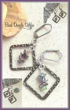 Hammered Pewter Swarovski Crystal Beaded Earrings #155