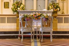 Peach and pink summer flowers in church and back of chairs - Castle Leslie Wedding by Shane O'Neill - Aspect Photography Catholic Wedding, Irish Wedding, Church Ceremony, Civil Ceremony, Summer Flowers, Pink Summer, Best Friend Wedding, Wedding Ceremony Decorations, Wedding Planning Tips