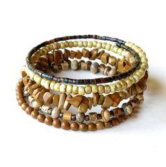 Beaded bracelet stack stacking tan beige caramel by dalystudios