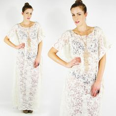 vtg 70s boho hippie CREAM SHEER FLORAL LACE crochet CAFTAN WEDDING maxi dress S $198.00