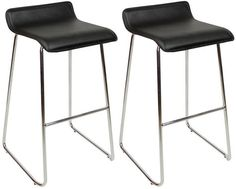 Pair wacony Chrome and Padded Kitchen Breakfast Bar Stools Fixed Height Various Colours Curved Chrome Frame