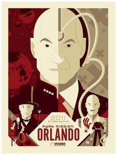 """Away Mission: Orlando"" Star Trek Convention Poster by Tom Whalen - OMG Posters! Tom Whalen, Omg Posters, Art Deco Posters, Retro Posters, Poster Vintage, Movie Posters, Charles Xavier, X Men, Aliens"