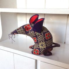 Prince the  Retro Mouse ! in Purple and Red  Vintage Fabric
