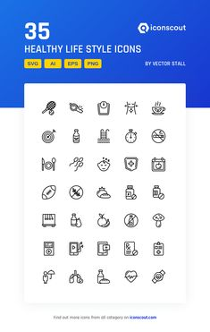 Healthy Life Style Icon Pack - 35 Line Icons Png Icons, More Icon, Icon Pack, Icon Font, Printed Materials, Mobile App, Healthy Life, Fonts, Gym