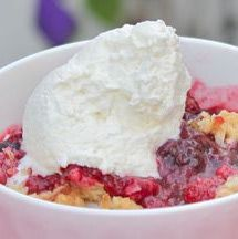 This berry crisp recipe can be made with raspberries, blackberries, blueberries or a combination of all three. While I prefer fresh berries for this recipe, frozen work well, too. Just make sure they're thawed completely; otherwise your filling could get runny.