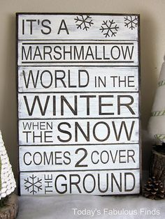 ♪ It's A Marshmallow World In The Winter ♪ ~ I can hear Johnny Mathis or Dean Martin right now.