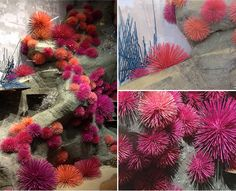 DIY sea urchins - just use toothpics, spray paint, and half of a foam ball as your base