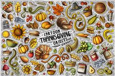 Thanksgiving Cartoon Vector Objects Set in Design Elements on Yellow Images Creative Store