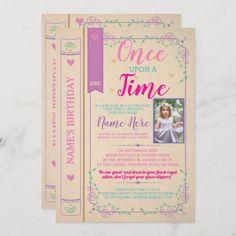 Princess First Birthday, Princess Birthday Invitations, Dinosaur Birthday Invitations, First Birthday Party Themes, Birthday Book, Birthday Name, First Birthday Photos, Story Tale, Photo Invitations