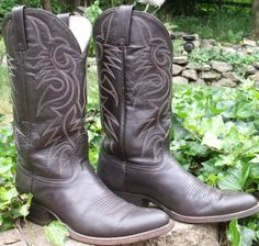 Cowboy boots MEXICO dark chocolate brown by OutOfMyMamasAttic, $69.99