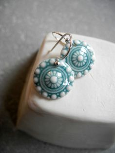 Jade green and white zeeuwse knot earrings with sterling silver earwire....