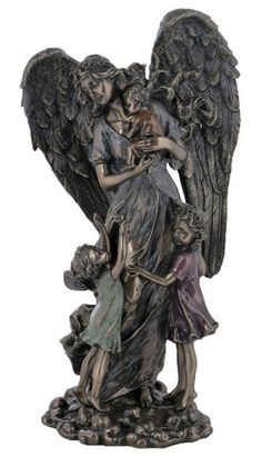 Guardian Angel With Children Statue. Loving angel surrounded by children. This figure depicts the love and protection of our guardian angels. Perfect gift for any child, baptism or for any angel colle