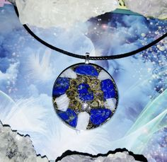 Flower of Life Throat Chakra Activation Lapis Lazuli & Blue Lace Agate Orgone Pendant, Reiki Infused Orgone Device, Jewelry for the Soul