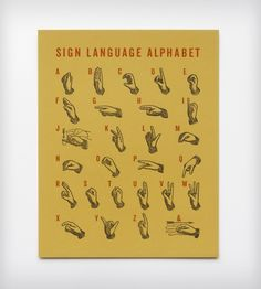 Sign Language Letterpress Art Print