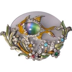 Vintage Dujay Rock Crystal Enamel Colorful Rhinestone Fish Brooch Pin Ultra RARE 1940 Figural ART Glass