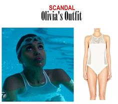 """November 2014 @ PM Kerry Washington as Olivia Pope in Scandal - """"An Innocent Man"""" (Ep. How about Olivia's collection of swimsuits in this episode?) Olivia's Swimsuit: Alexander Wang. Scandal Fashion, Fashion Tv, Olivia Pope Style, White One Piece, Innocent Man, Kerry Washington, One Piece Swimsuit, Mesh, Swimsuits"""