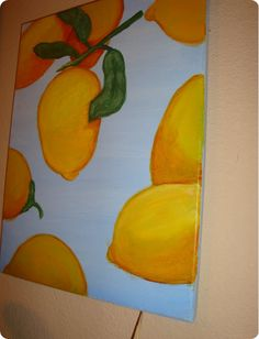 "I have heard it said that when ""life gives you lemons. make lemonade!"" Well I have sort of used some poetic license and modified that pa. Arts And Crafts Projects, Diy Crafts, Painted Floor Cloths, Canvas Art, Blank Canvas, Canvas Paintings, Lemon Print, Ballard Designs, Rug Making"