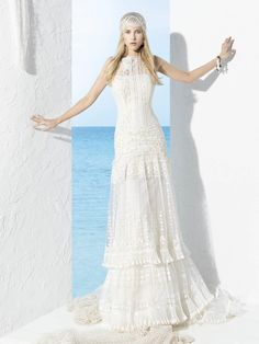 Mantua wedding dress byYolanCris | Ibiza!  #wedding #weddingdresses #bridal #gowns #Ibiza #formentera #style #fashion #hippie #chic #bohemian #handmade #artisan #couture #novia #sposa #noiva #mariée #abiti