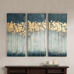 Madison Park Midnight Forest Gel Coat Canvas with Gold Foil Embellishment 3-piece Set