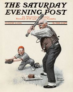 Norman Rockwell's Gramps at the Plate -August 5, 1916 Issue of The Saturday Evening Post