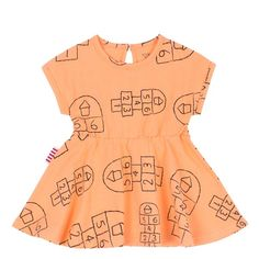 This SookiBaby Hopscotch Drop Sleeve Fit and Flare Dress in bright orange. Perfect for any occasion. This item can be mixed and matched with baby's. Fit Flare Dress, Fit And Flare, Baby Bear Cub, Hopscotch, Fashion Labels, Mix N Match, Baby Wearing, Rompers, Orange