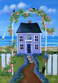 Me olvide no casa de campo 5 x 7 Original arte por KimsCottageArt
