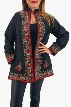 Sacou/Pardesiu brodat cu motive traditionale 7 Alexander Mcqueen Scarf, Peplum, Kimono Top, Sweaters, Tops, Women, Products, Fashion, Embroidery