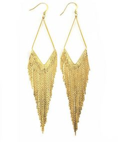 Panacea Golden Long Fringe Hoop Earrings (Stylist Pick!) on shopstyle.com