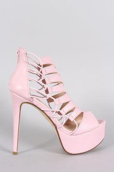 Anne Michelle Strappy Peep Toe Stiletto Platform Heel