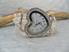 Rhinestone Heart Watch Interchangeable Band Gray and by babbleon, $35.00