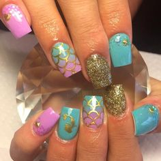 Gold Shimmer | Mermaid Scales Full Nail Decal | Mermaid Nails | Summer Nails | Nail Art | Nail Decals