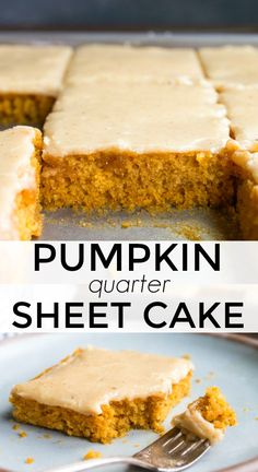 Pumpkin sheet cake made in a quarter sheet cake pan! This quarter sheet cake makes 12 small pieces of cake. Sheet cakes are so easy, and the frosting is pumpkin spice made on the stove! #sheetcake #pumpkin #pumpkindessert #pumpkincake #pumpkinsheetcake #easypumpkincake #fallcake #falldessert #leftoverpumpkin  via @dessertfortwo