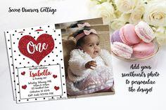 Photo Sweetheart Glitter Hearts Birthday Printable Invitation - Valentine Glitter Heart Invitation - 5x7 / 2-3 Business Days