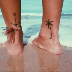 Anchor and palm tree tattoo, foot tattoo, ankle tattoo. i want a palm tree! Mini Tattoos, Foot Tattoos, Cute Tattoos, Beautiful Tattoos, Small Tattoos, Beachy Tattoos, Palm Tree Tattoos, Beach Theme Tattoos, Beach Inspired Tattoos