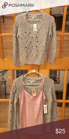 Decree Sweater and Cami This listing is for both the sweater and pink cami. The sweater is a small and the cami is a medium. Both are new with tags. Smoke free home Decree Sweaters Crew & Scoop Necks
