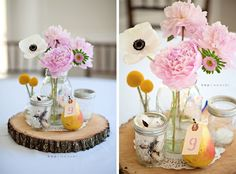 Centerpiece wood slate, mason jar with blush colored flowers, natural elements. Website credit: http://wedding-pictures.onewed.com/match/images/16652/vintage-chic-wedding-flower-centerpieces-mason-jars.original.jpg?1357169570