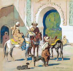 Cavalier à la porte de la Kasbah von Edouard Edmond Doigneau