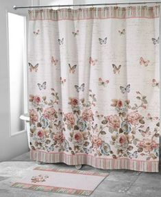 Easily add a fresh new pattern to your bathroom with this Avanti Butterfly shower curtain collection. Butterfly Shower Curtain, Colorful Shower Curtain, Rope Shelves, Wooden Shelves, Garden Shower, White Shower, Space Furniture, Floral Motif, Bathroom Accessories