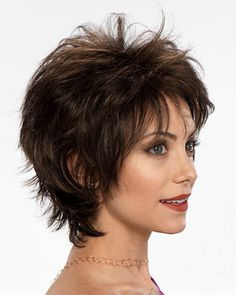 Find the Liza Wig (Mono Top) by Tony of Beverly Wigs. Liza is a short textured bob cut naturally feathered with a full body nape and soft pliable layers. Short Shaggy Haircuts, Layered Haircuts With Bangs, Short Shag Hairstyles, Haircuts For Fine Hair, Haircut For Thick Hair, Woman Hairstyles, Medium Hairstyles, Edgy Short Hair, Short Hair Wigs