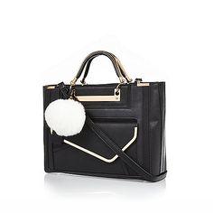 Black structured pom pom tote handbag - shoppers / tote bags - bags / purses - women