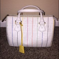 Auth FENDI Multicolor Stripe Zucchino Boston bag Authentic Fendi White  Zucca Print Multicolor Stripe Zucchino Leather Boston Bag Satchel Purse  Excellent ... d4de0aaf7c4ae