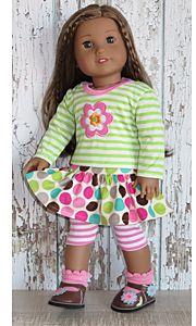 Dot skirt and blouse for american girl dolls.
