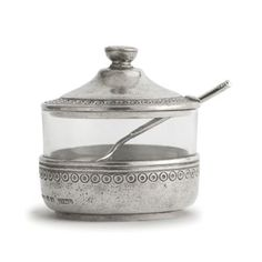 Anna Caffe Sugar with Spoon - Arte Italica The Anna Caffe collection is created by Italian artisans using the highest quality Italian pewter and glass. Each piece is adorned with a delicate pattern that is reminiscent of vintage lace. These pieces French Country Furniture, Paris Decor, Wood Wick Candles, Tea Service, Jar Lids, Serveware, Tableware, Kitchenware, Cereal Bowls