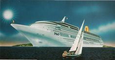 Meyer Werft concept drawing for P&O Line's Project Gemini (c1991). This design would be evolved and eventualy built as P&O's Oriana in 1995.