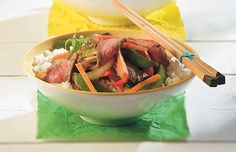 Ginger-Beef Stir Fry with Rice Stir Fry Rice, Beef Stir Fry, Ginger Beef, Eating Well, Japchae, Fries, Cooking, Ethnic Recipes, Food