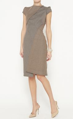 Zac Posen Grey And Tan Dress//