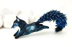 Moon Wanderer Black Fox Totem Figurine Sculpture, Animal magic spirit amulet